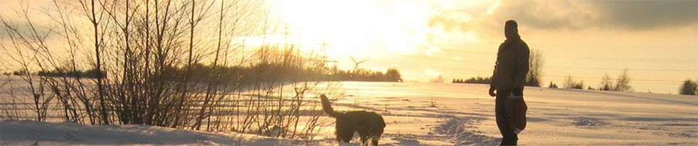 Ein Mann geht mit seinem Hund in roter Abendsonne in einer Winterlandschaft spazieren