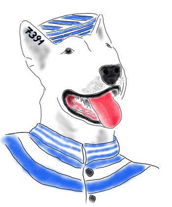 Zeichnung Bulldogge im blau-weiß-gestreiften Sträflingsoutfit